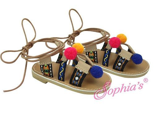 Tan Strappy Pom-Pom Sandals