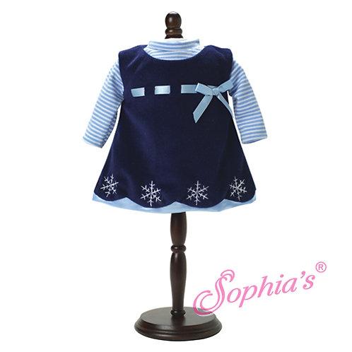 Baby Doll Navy Velvet Snowflake Dress & Stripe Shirt