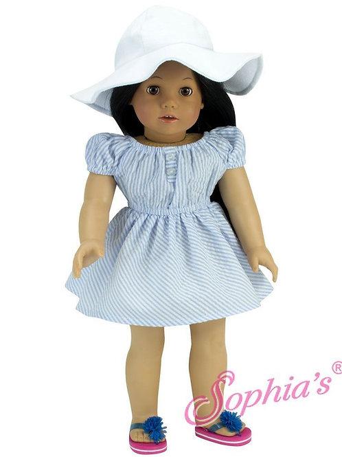 Blue Searsucker Summer Dress & Hat Set