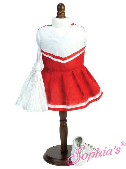 Red Cheerleader Dress with White Pom Poms