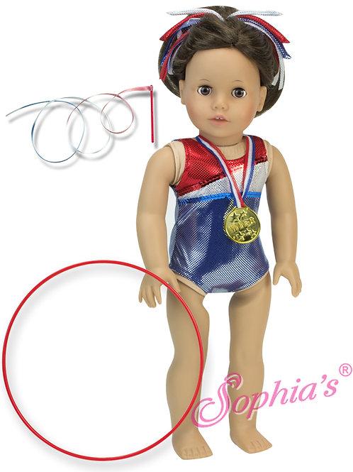 Red, White & Blue Gymnastics Leotard, Gold Medal, Hair Ribbon, & Accessories