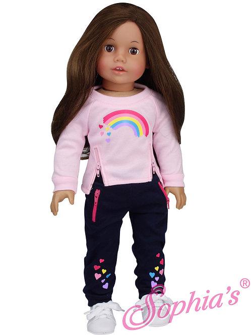 Pink and Navy Rainbow Sweat Suit w/ Zipper Trim