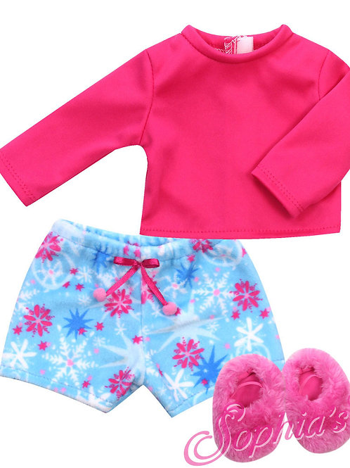 Star Print Fleece Shorts Pajamas, Tee and Slippers