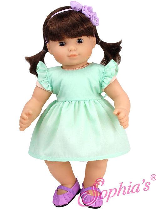 Baby Doll Pastel Green Spring Dress & Flower Headband