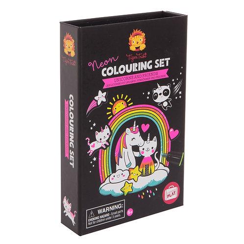 Unicorn & Friend- Neon Coloring Set