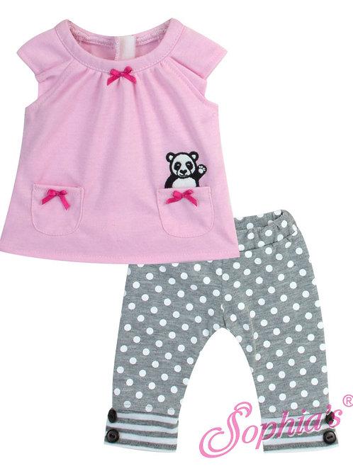 Baby Doll Pink Panda Shirt & Polka Dot Leggings