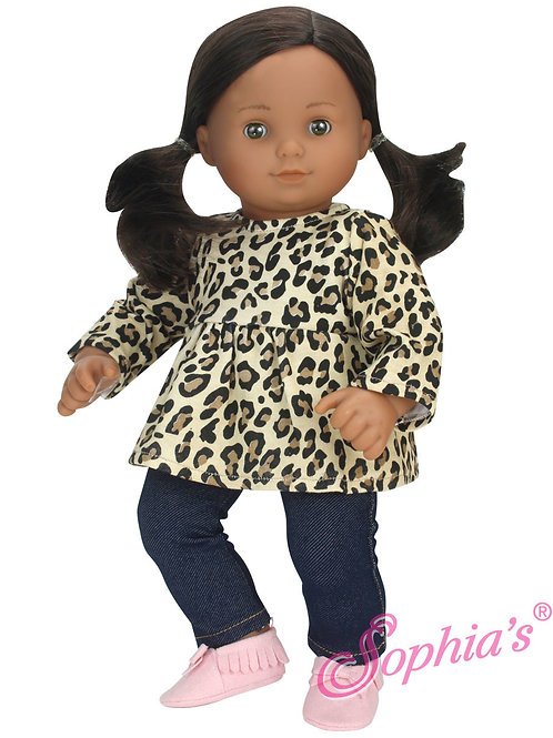 Baby Doll Cheetah Print Tunic Top & Denim Jeggings 2 Piece Set