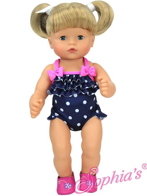 Baby Doll Navy Polka Dot Bathing Suit w/Pink Trim