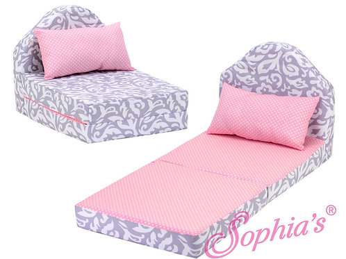 Gray and Pink Print Fold Out Bed & Pillow