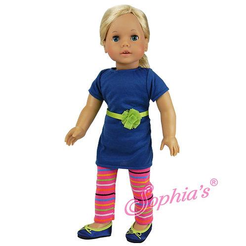Blue T-Shirt Dress & Pink Striped Leggings