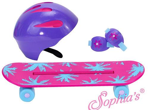 Skateboard, Helmet & Knee Pad Set