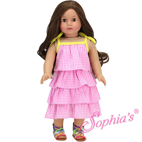 Pink Gingham Tiered Ruffle Dress w/ Yellow Trim