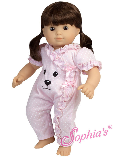 Baby Doll Pink Short Bear Face Sleeve Sleeper