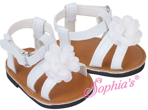 Baby Doll White Sandals with Decorative Flower