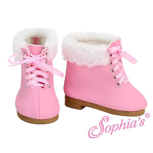 Light Pink Fur Trim Tie Booties