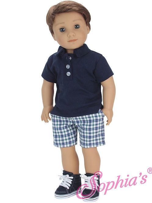 Plaid Bermuda Shorts & Navy Polo Shirt 2 Piece Set