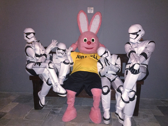 Corporate event with Duracell Bunny and Stormtroopers.
