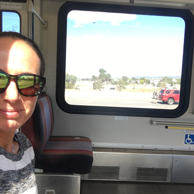 heading to the airport on the train