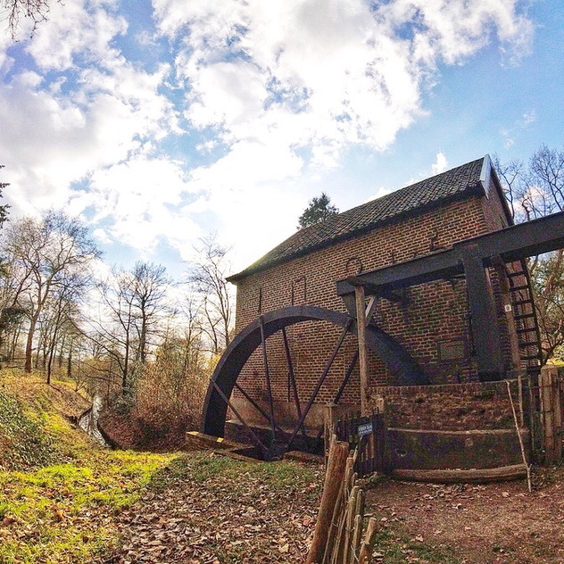 Historical grain mill water wheel