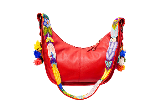 Cristina Orozco Red Leather Luna Handbag