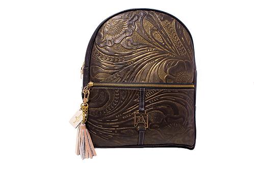 AngeLozano Chiapas Black Gold Metallic Leather Backpack