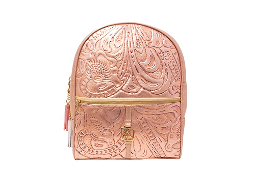 AngeLozano Chiapas Rose Gold Metallic Leather Backpack