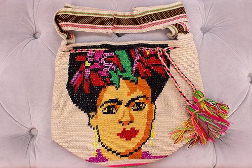 Handmade Frida Kahlo Beige Shoulder Bag