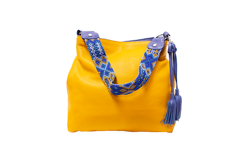 Cristina Orozco Yellow Leather Shoulder Handbag