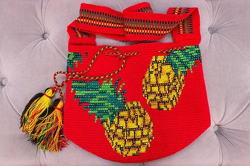Handmade Red Pineapple Patterned Shoulder Bag