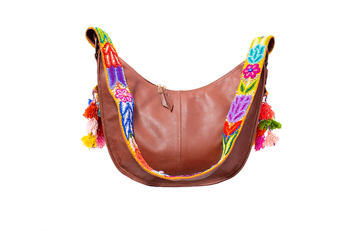 Cristina Orozco Brown Leather Luna Handbag