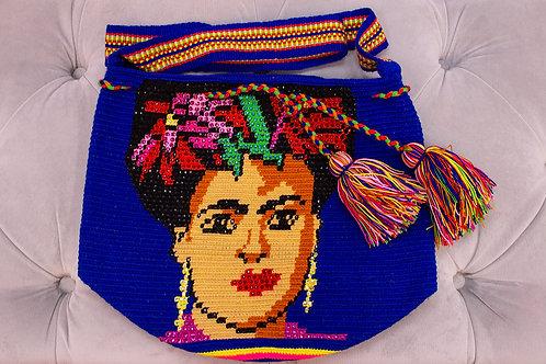 Handmade Frida Kahlo Blue Shoulder Bag