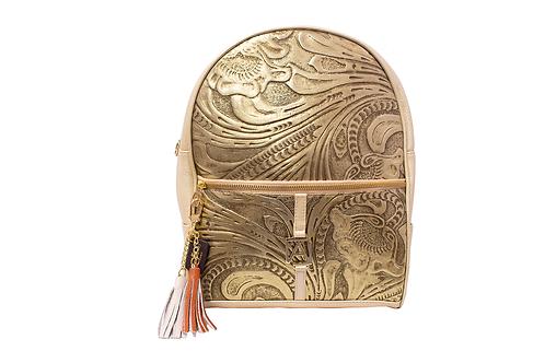 AngeLozano Chiapas Gold Metallic Leather Backpack