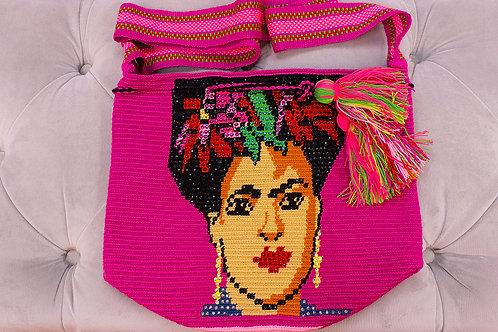 Handmade Frida Kahlo Pink Shoulder Bag