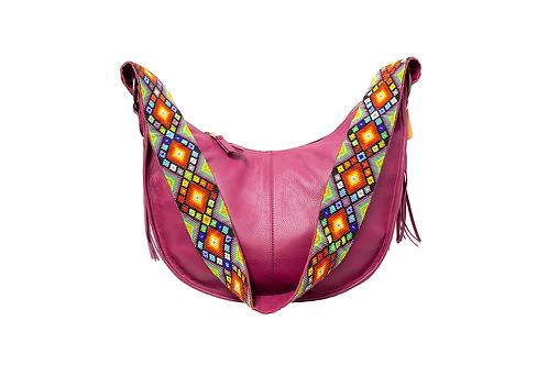 Cristina Orozco Purple Leather Luna Handbag
