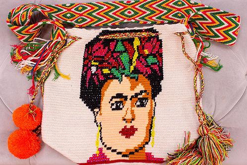Handmade Frida Kahlo White Shoulder Bag