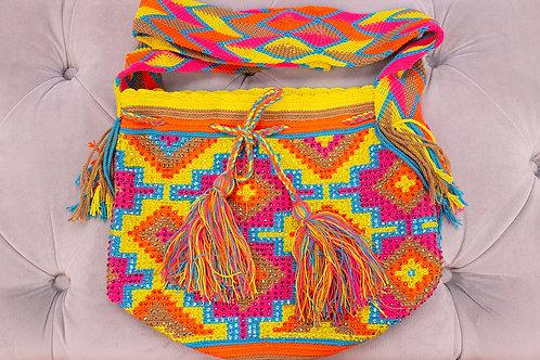 Handmade Yellow Patterned Shoulder Bag