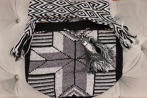 Handmade Black & White Patterned Shoulder Bag