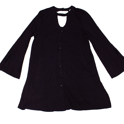 Black Button Up Long Tunic Top