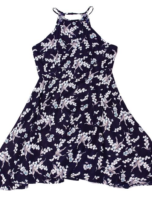 Fashion Line: Floral Navy Blue Dress
