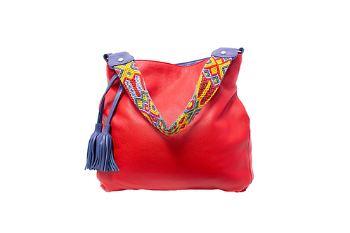 Cristina Orozco Red Leather Shoulder Handbag