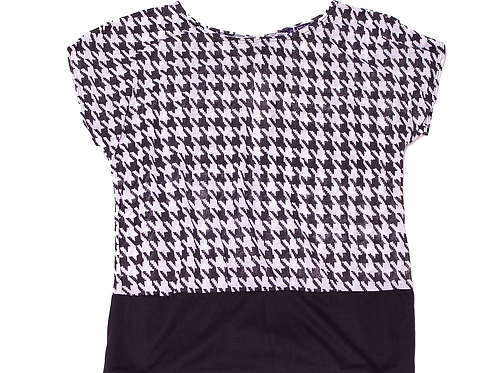 Black & White Zig Zag Pattern Top (Plus Size)