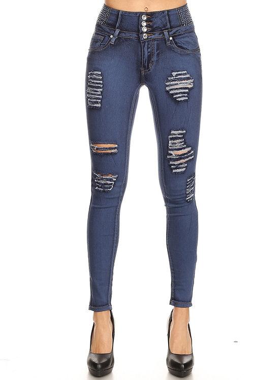 Mi-Jeans: Medium Sand Wash Rhinestone Jeans