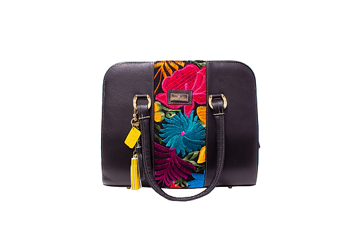 AngeLozano Camila Black Leather Handbag
