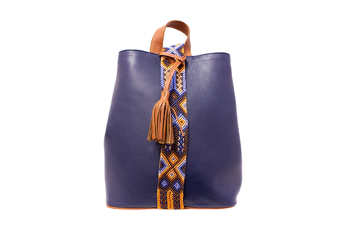 Cristina Orozco Blue Leather Backpack