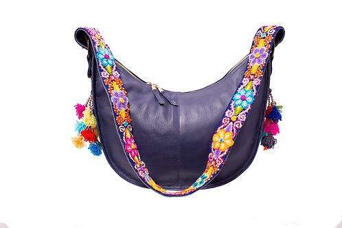 Cristina Orozco Dark Blue Leather Luna Handbag