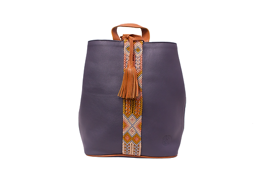 Cristina Orozco Navy Blue Leather Backpack
