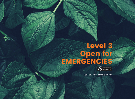 OPEN for Emergencies during Level 3
