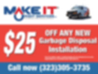 $25 off any new garbage dsposal installation