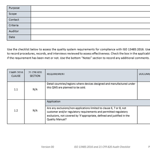 ISO 13485:2016 and 21 CFR 820 Audit Checklist