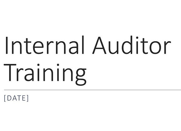 Internal Auditor Training